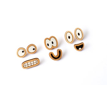 Face Pack, Wooden Brooches, Wooden Brooch, Fun Brooches, Handmade Brooches, Stocking Filler, Fashion Brooches, RockCakes