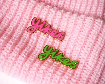 Yikes Enamel Pin Badge, Pins, Pink Brooch, Green Brooch, lapel pin, Badges, RockCakes, Brighton uk