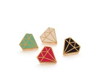 Diamond Pin Badge, Enamel Pin, Pins, Pin Badge, Pin, Lapel Pin, Hard Enamel Pin, brooch,  Diamond Brooch, Diamond, RockCakes