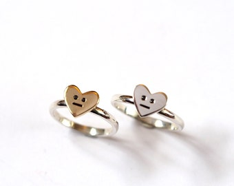 Heart Ring, Handmade in Silver or Gold, Black Diamond Eyes