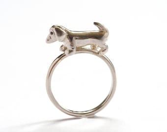 Sausage Dog Ring, Sterling Silver Dog Ring, Black Diamond Eyes, Dachshund Ring, Handmade in Brighton, UK