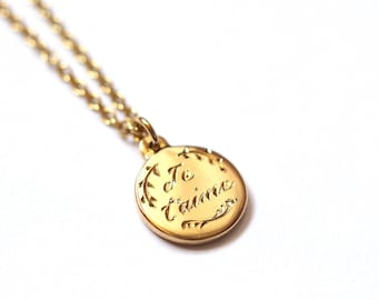 Je t'aime, i love you, Hand Engraved Gold Necklace