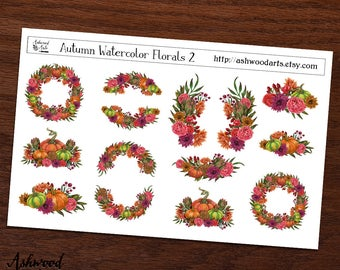 Autumn Watercolor Florals Planner Stickers and Washi Tape Set