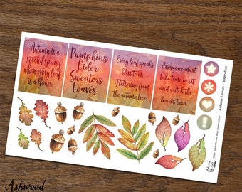 Autumn Leaves Erin Condren Planner Stickers Weekly Kit