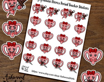 Period Tracker Angry Uterus Kawaii Planner Stickers