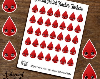 Period Tracker Kawaii Planner Stickers