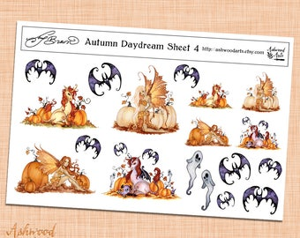 Amy Brown Autumn Daydream Fairy Planner Stickers and Washi Tape Set