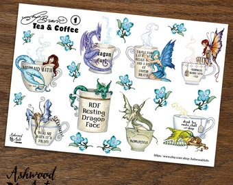 Amy Brown Coffee and Tea Planner Stickers and Washi Tape Set