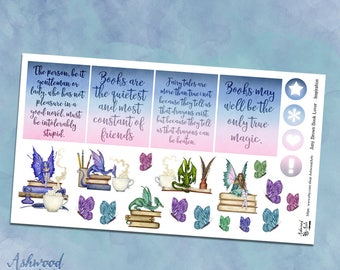 Amy Brown Book Lover Erin Condren Planner Stickers Weekly Kit