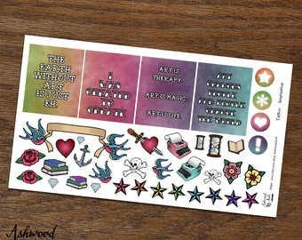 Tattoo Body Art Erin Condren Planner Stickers Weekly Kit