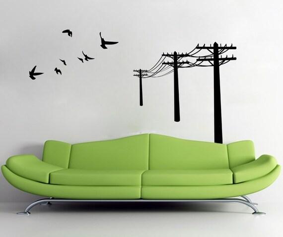 Ähnliche Artikel wie Telefonmast und fliegende Vögel - Wall Decal ...