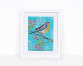 Bird in Cherry Blossoms,  bird art, printable bird, bird, printable art, Downloadable Art, Digital Download, Abstract Digital Download