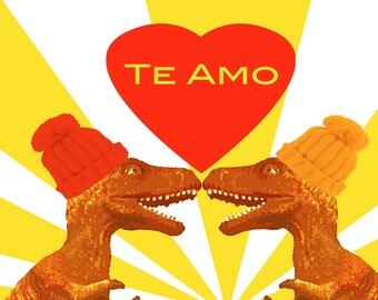 T Rex Te Amo   POP Art Print by Giraffes and Robots