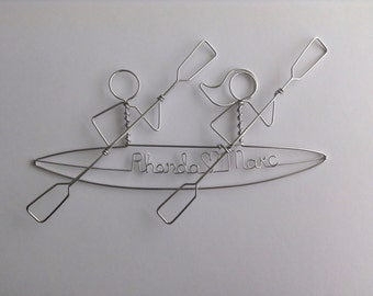Kayak Silhouette Bride and Groom Hanging Ornament