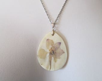 Decoupage real violet flower on seashell pendant necklace handcrafted