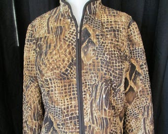 1c8d4082328d Womens Dressbarn brown to beige animal pattern silky quilted jacket zipper  front size small