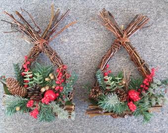 set of 2 vintage christmas wall decor branch and pine tree measures 9 x 13 - Vintage Christmas Wall Decor