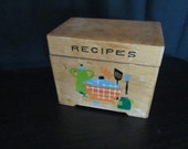 Vintage Nevco wood recipe box with hand painted design 5 1 2 quot x 3 1 2 quot x 4 1 2 quot