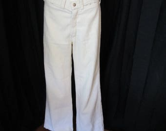 6045da22ea 1960 s womens LAPD ivory bell bottom pants LA Pants Depot size 8