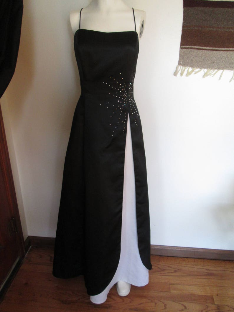 300777c1a6 Laura Rymer long formal black dress with white and rhinestone
