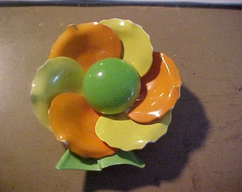 Vintage Orange Yellow Green Flower Brooch Retro