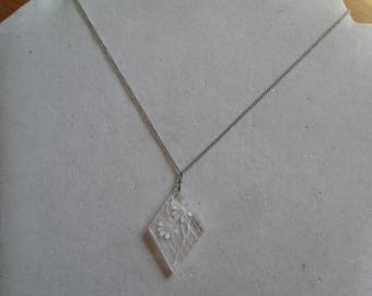 "Clear daisy flower pendant necklace on 15"" fine silver chain 1970's"