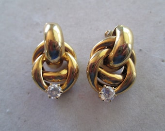 """1990's gold Celtic knot earrings with crystal accent measures 1"""" x 3/4"""""""