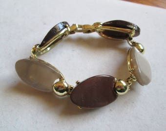 1950's brown to cream Lucite and metal bracelet