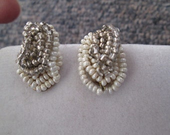 1930's hand woven white and silver glass seed beaded knot clip on earrings