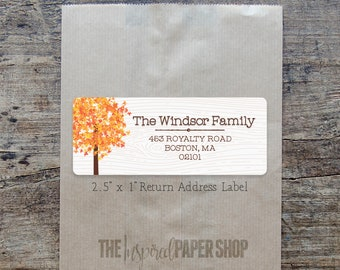 48 Fall Tree Return Address Labels / Unique Gift / 1 x 2.5 Inches