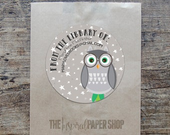 24 Wise Owl / Owl with Glasses Book Plate Labels / Unique Gift /1.67 Inches