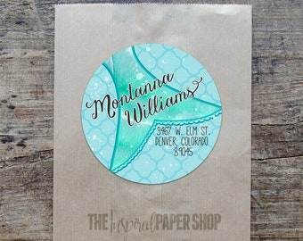 24 Mermaid Tail Return Address Labels / Unique Gift / New Address Labels / 1.67 Inch Glossy Labels