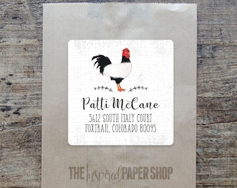24 Farmhouse Rooster Return Address Labels / Unique Gift / 2 x 2 Inches