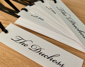 """20 Matte Tags Customizable with Satin Ribbon or Bakers Twine / 1 x 3.5"""" Inches"""