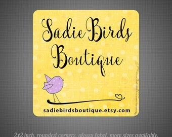 24 Glossy Stickers - 2x2 Square Little Birdie
