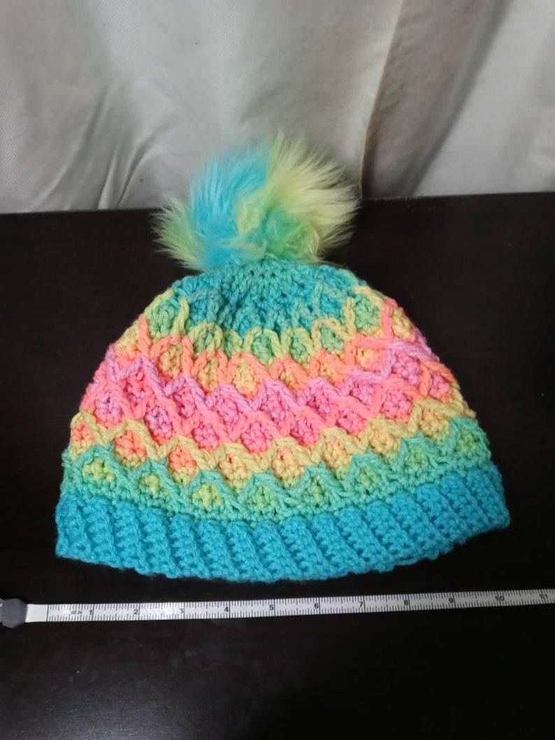 retro stripes Diamond beanie in neon rainbow stripes crochet tiktok beanie