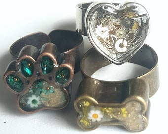 Pet Cremation Ring , Pet Ashes, Heart Ring, Heart Cremation Ring, Pet Cremation Jewelry, Pet Hair Jewelry, Pet Memorial Ring