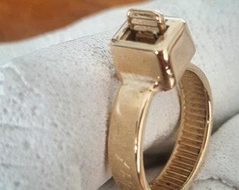 ZipTie Gold Ring, Zip Tie  Jewelry, 14kt Gold Ring,  Cable Tie Band, Cable Band, Ziptie Band