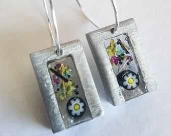 Flower Earrings, Glass Jewelry, Resin Jewelry, Resin Earrings,  Glass Earrings, UV resin Earrings