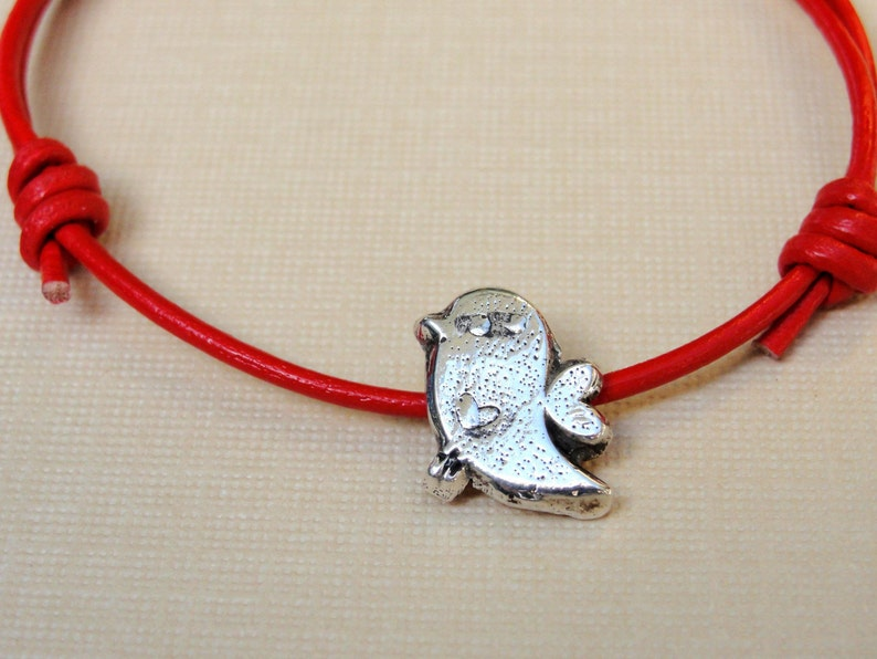 Twitter Bird Bracelet  Jewelry Sterling Silver Red Leather