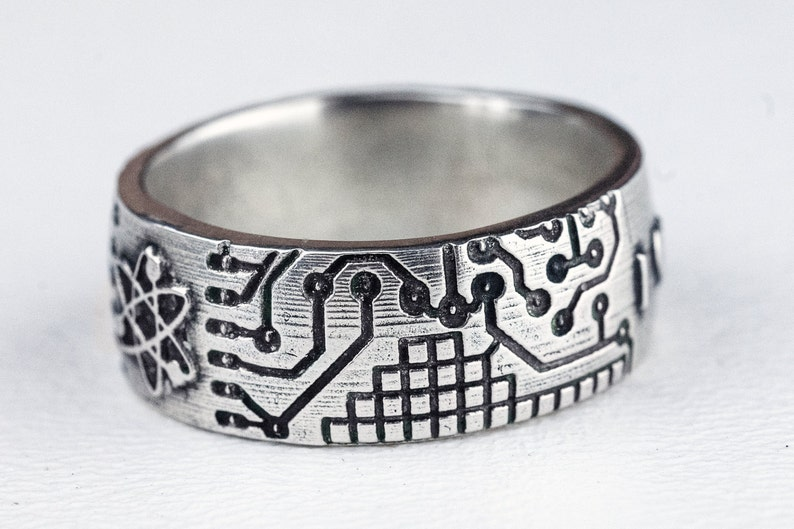 Circuit Board Ring Atom Fathers Day Band Jewelry Sterling image 0