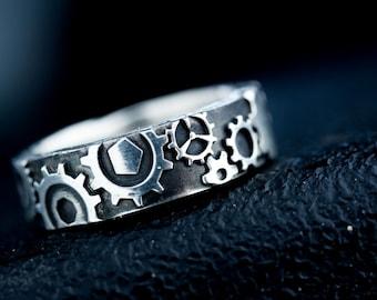 Steampunk Gear Ring Silver Steam Punk Industrial Wedding Band