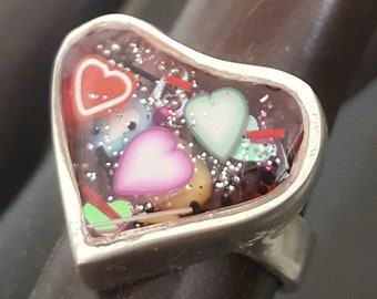 Resin Heart Ring, Polymer Clay Ring,, Sterling Silver Band, Flowers, Hearts, Unique, Art Jewelry  Heart Ring, Resin, UV Resin, Collage Ring