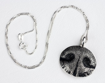 Dog Nose Necklace Personalized in Sterling Silver Large