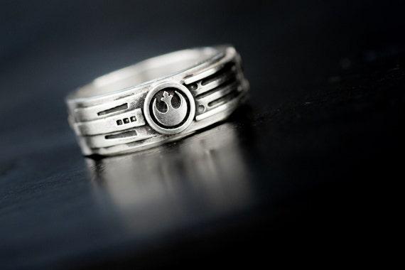 Lightsaber Wedding Ring Band Sterling Silver Custom Ring Etsy