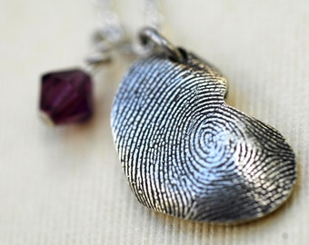 Fingerprint Heart Necklace Thumbprint in Sterling Silver Personalized with Birthstone