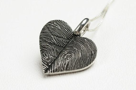 Fingerabdruck Herz Halskette Personalisierte Sterling Silber Etsy