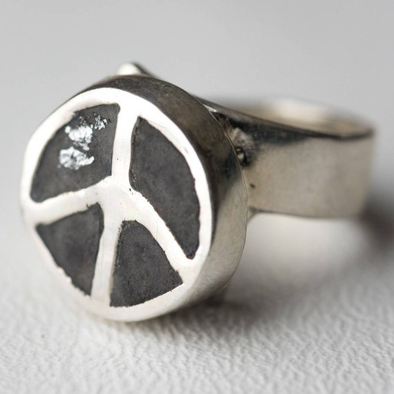 Peace Sign Ring Concrete Round Sterling Silver Peace Boho