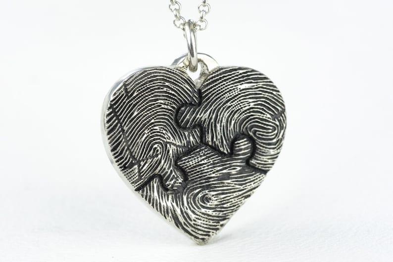 222e017f1923 Huella digital corazón collar pieza personalizada joyería de