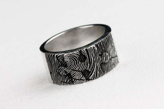 Fingerprint Puzzle Ring Wedding Band Personalized Sterling Etsy
